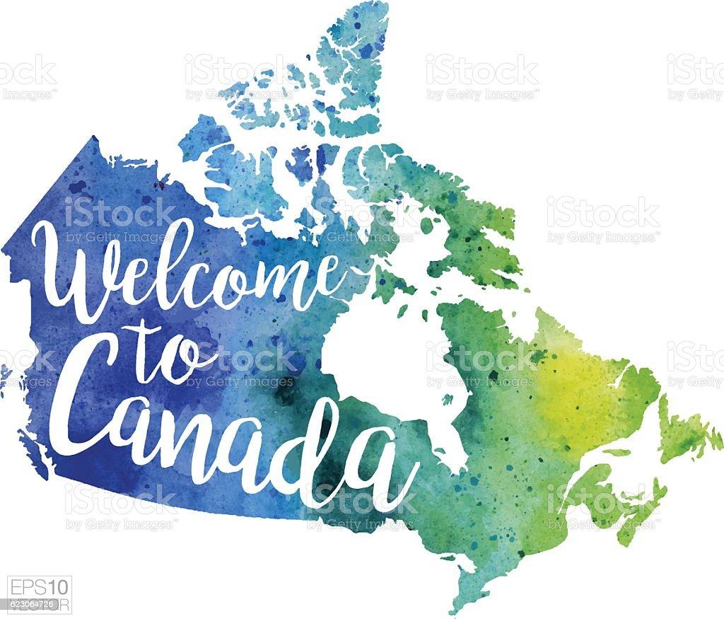 Welcome To Canada Vector Watercolor Map stock vector art 623064726