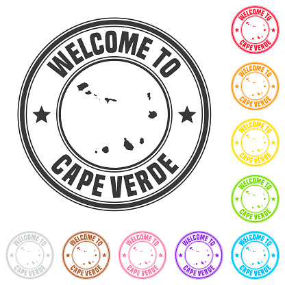 Welcome to Cape Verde stamp - Colorful badges on white background