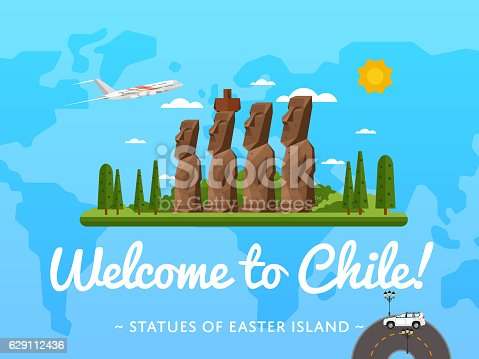 Welcome to Chile poster with famous attraction vector illustration. Travel design with Moai statues from Easter island. Worldwide air traveling, time to travel, discover new historical places