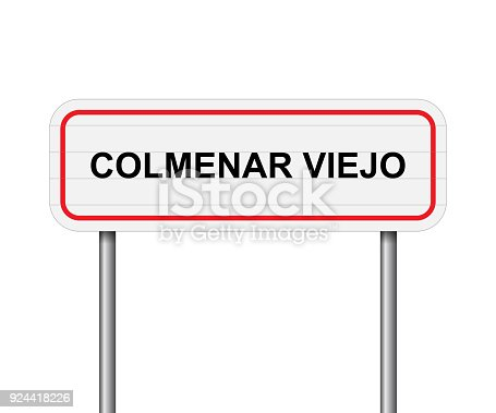 istock Welcome to Colmenar Viejo, Spain road sign vector 924418226
