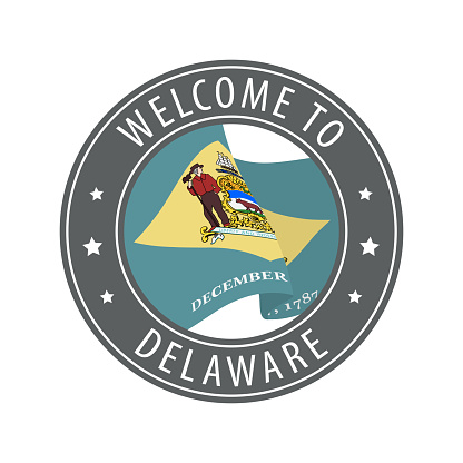 Welcome to Delaware. Gray stamp with a waving state flag.