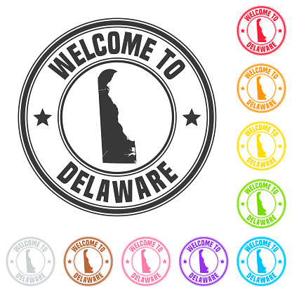 Welcome to Delaware stamp - Colorful badges on white background