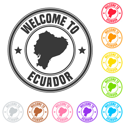 Welcome to Ecuador stamp - Colorful badges on white background