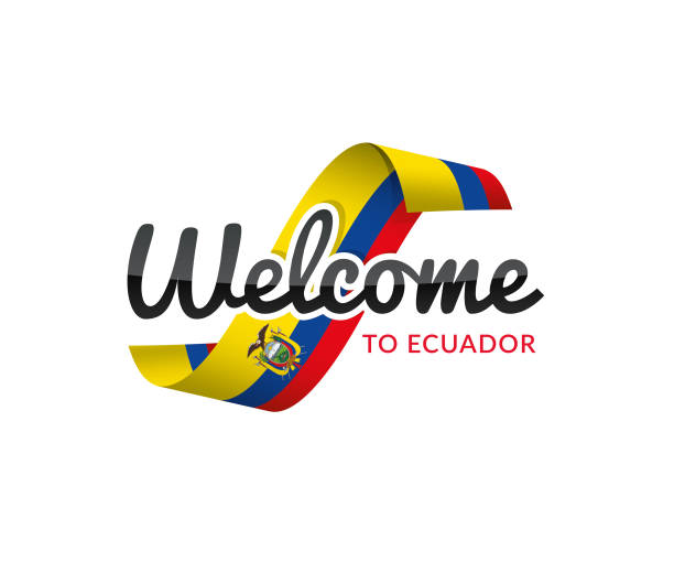 welcome to ecuedor - ecuador flag stock illustrations