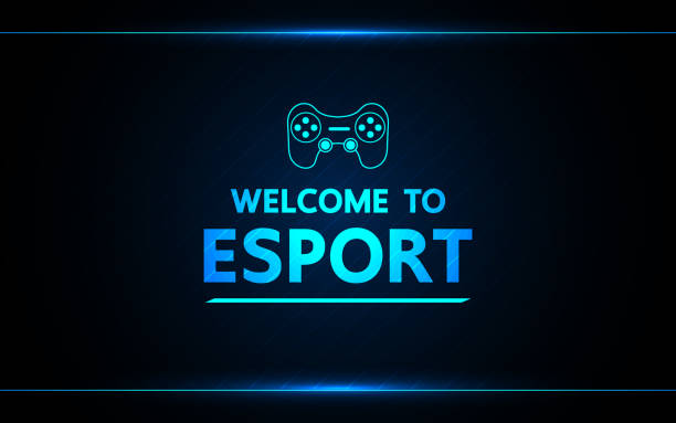 Welcome to e-sport  vector abstract technology game design for business future. Welcome to e-sport  vector abstract technology game design for business future. game controller stock illustrations