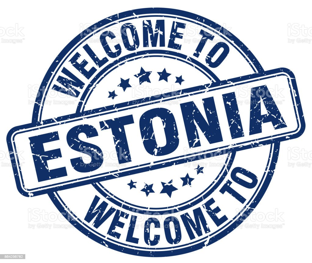 welcome to Estonia blue round vintage stamp royalty-free welcome to estonia blue round vintage stamp stock vector art & more images of badge