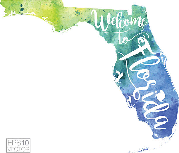 Welcome to Florida Vector Watercolor Map A highly detailed vector map of the US State of Florida with a multicoloured, blue and green hand painted watercolor texture. Map is isolated on a white background.