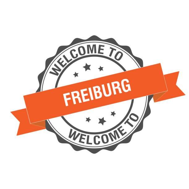herzlich willkommen sie in freiburg-stempel-abbildung - schwarzwald stock-grafiken, -clipart, -cartoons und -symbole