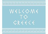 Welcome to Greece and greece ornament on blue background.