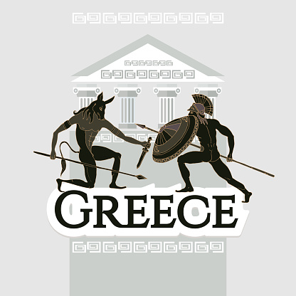 Welcome to Greece. Collection of symbolic elements. Template travel background. Travel to Ancient Greece. Traditions and culture