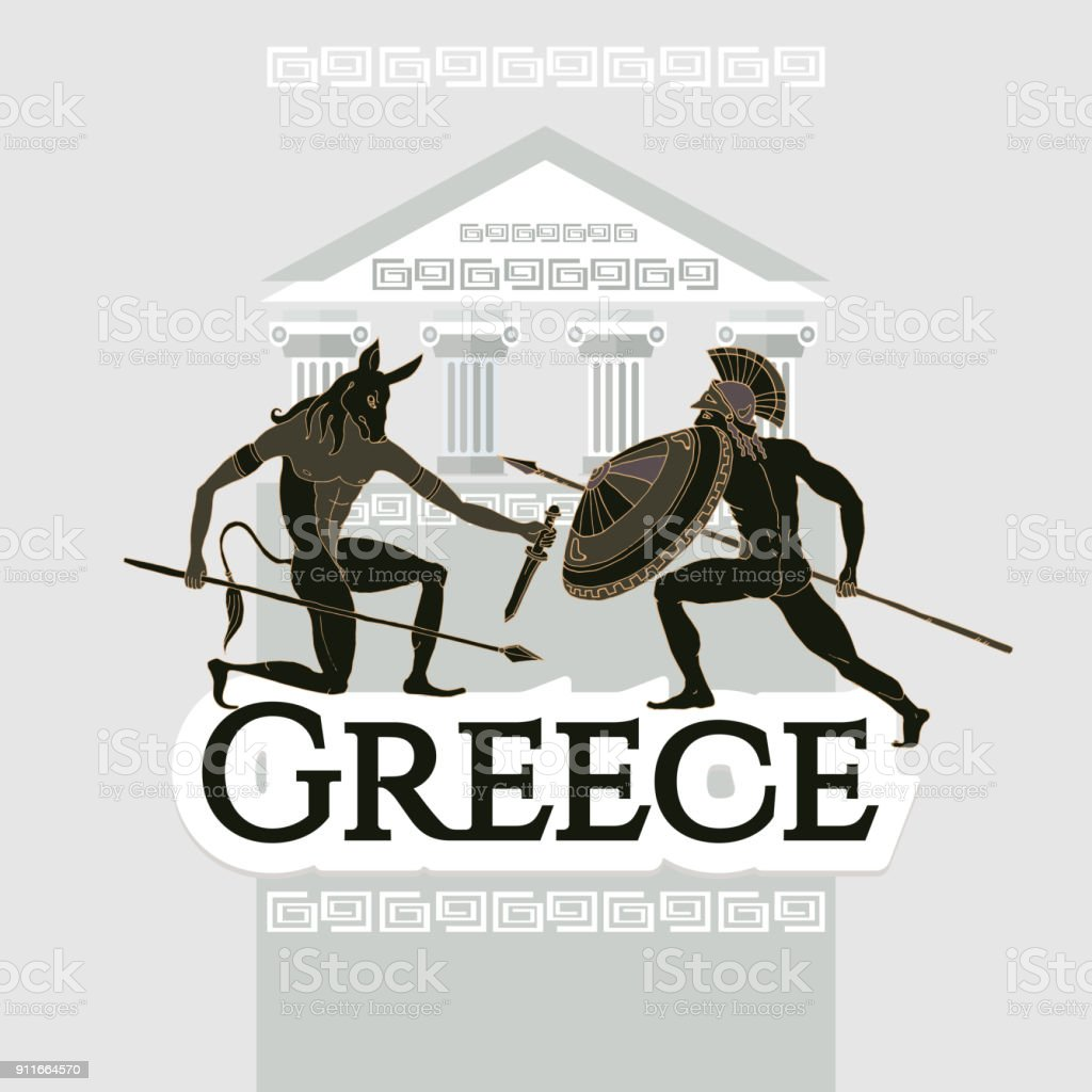 Welcome to Greece. Collection of symbolic elements. Template travel background. Travel to Ancient Greece. Traditions and culture vector art illustration