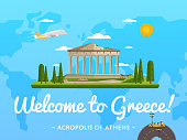 Welcome to Greece poster with famous attraction