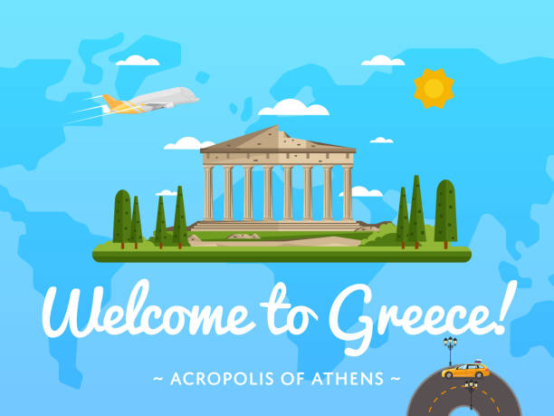Welcome to Greece poster with famous attraction vector art illustration