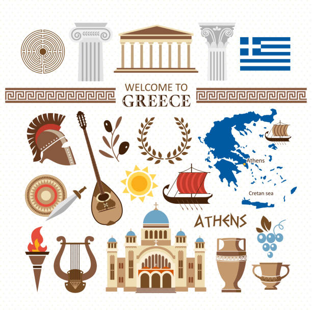 welcome to greece travel collection vector art illustration
