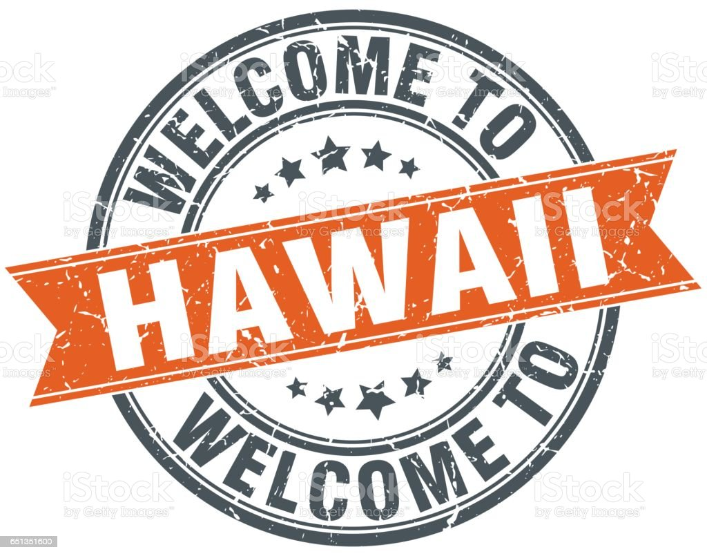 Welcome To Hawaii Orange Round Ribbon Stamp