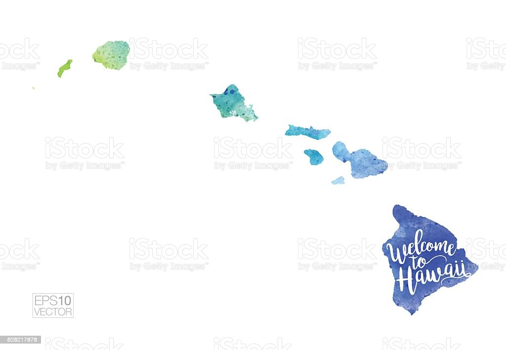 Welcome to Hawaii Vector Watercolor Map vector art illustration