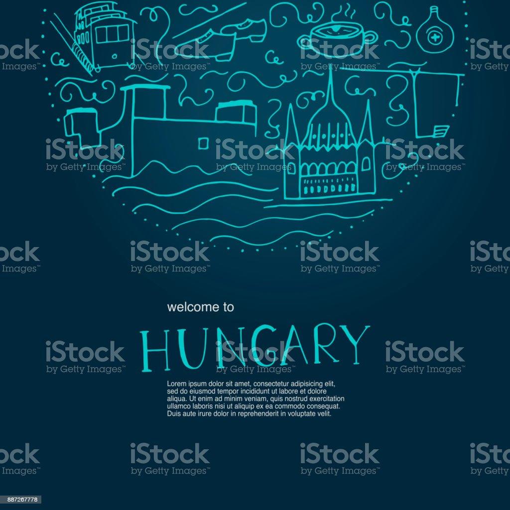 Willkommen in Ungarn. Handgezeichnete Elemente von Ungarn. – Vektorgrafik