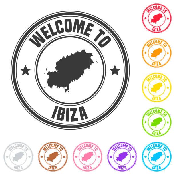 ilustrações de stock, clip art, desenhos animados e ícones de welcome to ibiza stamp - colorful badges on white background - ibiza