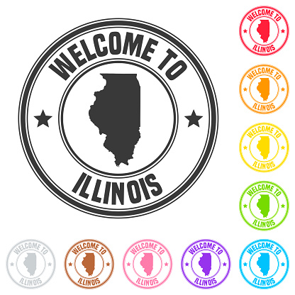 Welcome to Illinois stamp - Colorful badges on white background