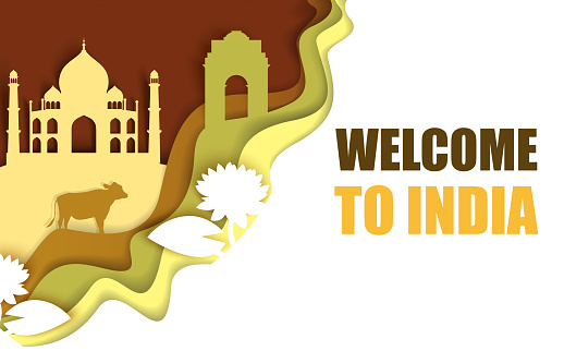 Welcome to India poster, vector paper cut illustration