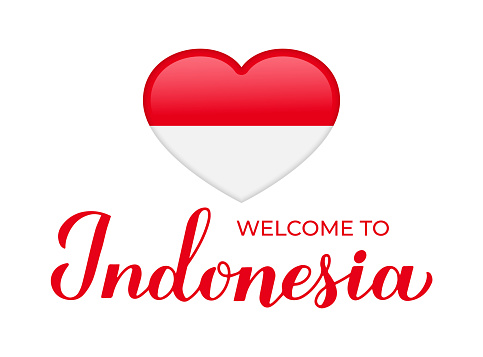 Welcome to Indonesia lettering with national flag in heart shape isolated on white background. Vector template for typography poster, postcard, banner, flyer, sticker, t-shirt