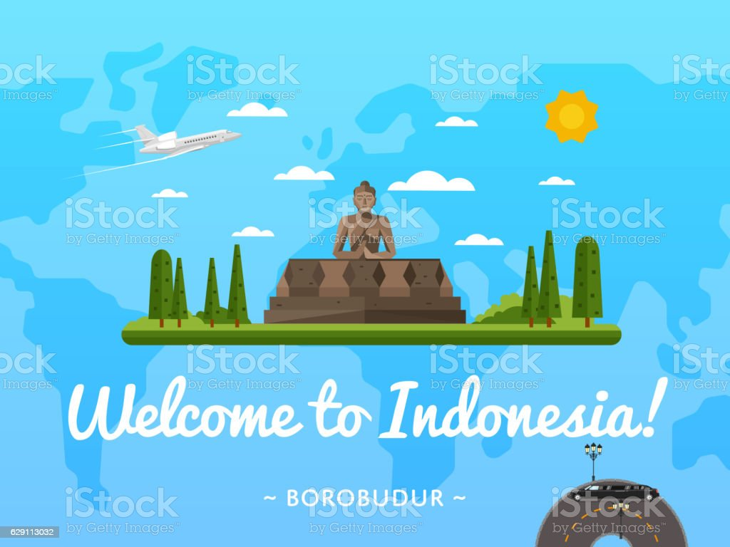 Welcome to Indonesia poster with famous attraction vector art illustration
