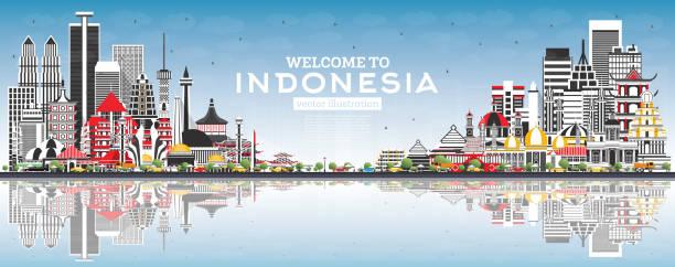 회색 건물, 푸른 하늘과 반사와 인도네시아 스카이 라인에 오신 것을 환영합니다. - 자카르타 stock illustrations
