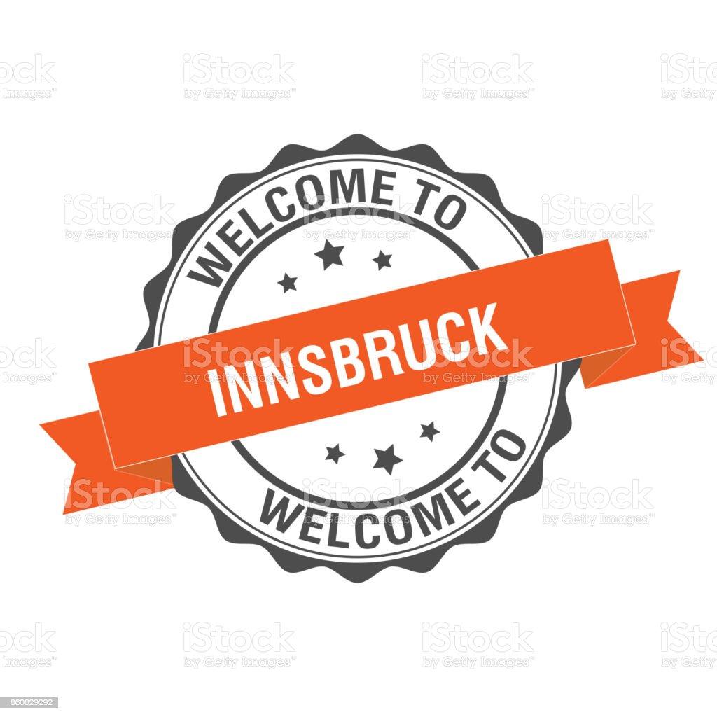 Welcome to innsbruck stamp illustration vector art illustration