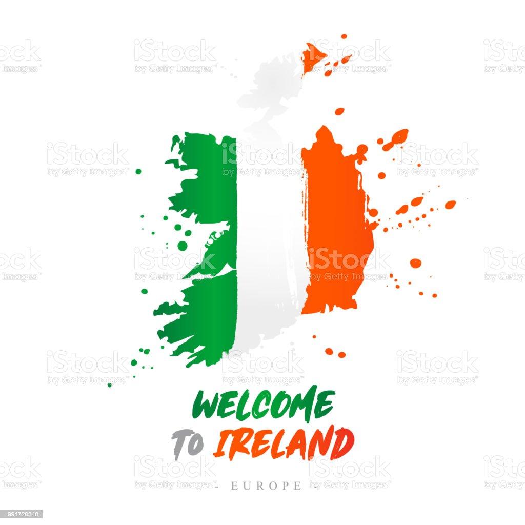 Irland Karte Europa.Willkommen In Irland Europa Flagge Und Karte Stock Vektor Art Und