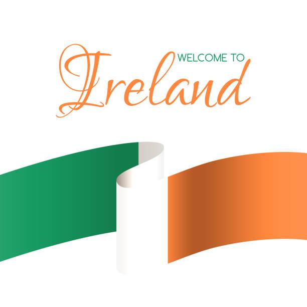 willkommen in irland. vektor-karte mit flagge von irland - flagge irland stock-grafiken, -clipart, -cartoons und -symbole