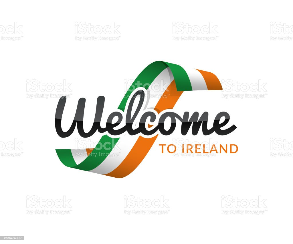 welcome to ireland vector art illustration