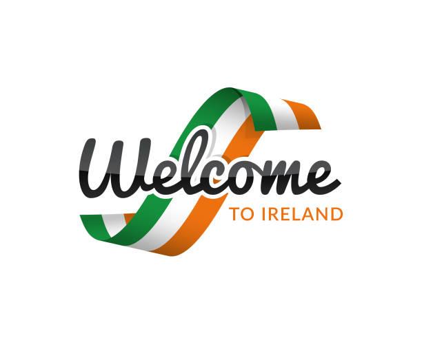 ilustraciones, imágenes clip art, dibujos animados e iconos de stock de bienvenido a irlanda - bandera irlandesa