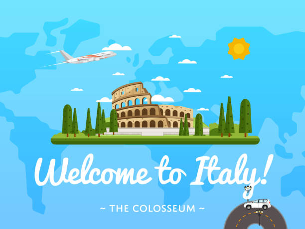 illustrations, cliparts, dessins animés et icônes de welcome to italy poster with famous attraction - rome