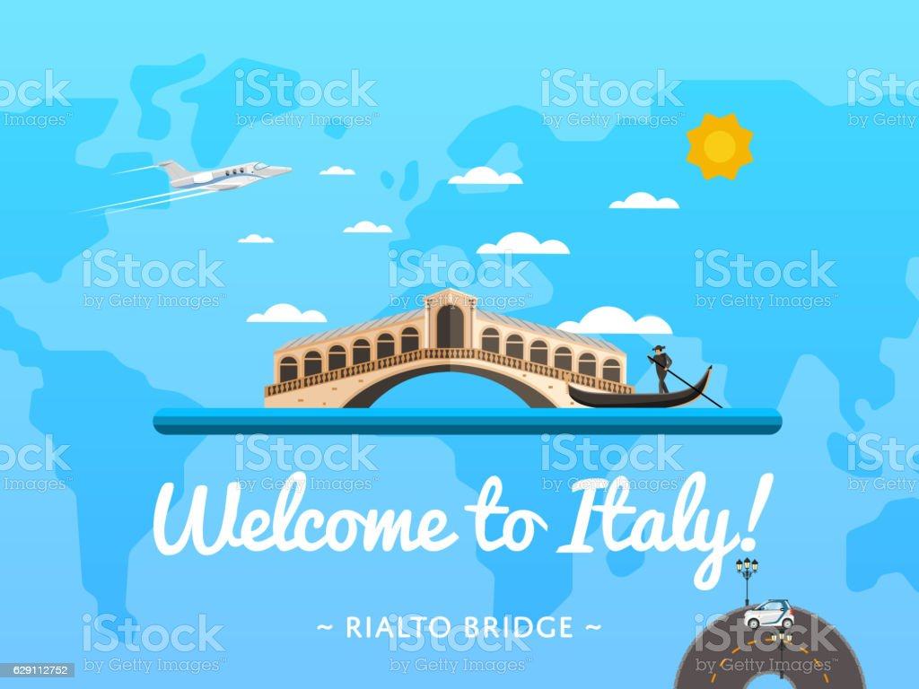 Welcome to Italy poster with famous attraction vector art illustration