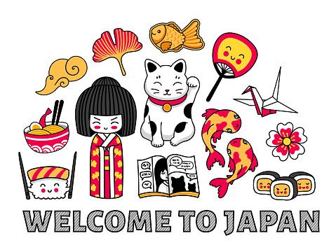 Welcome to Japan banner. Concept for t-shirt, print, poster, wall art, postcard. Cartoon illustrations. Kokeshi doll, maneki-neko, carps, origami, fuji, sushi, manga, ginko leaf, taiyaki fish.