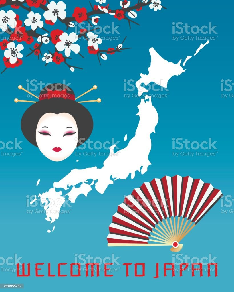 Herzlich Willkommen Sie Auf Plakat Vorlage Japan Stock Vektor Art