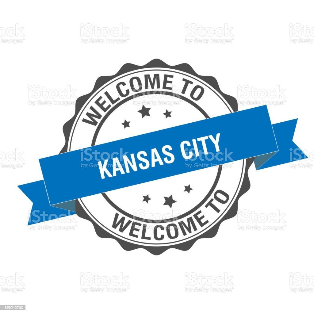 Welcome to Kansas City stamp illustration vector art illustration