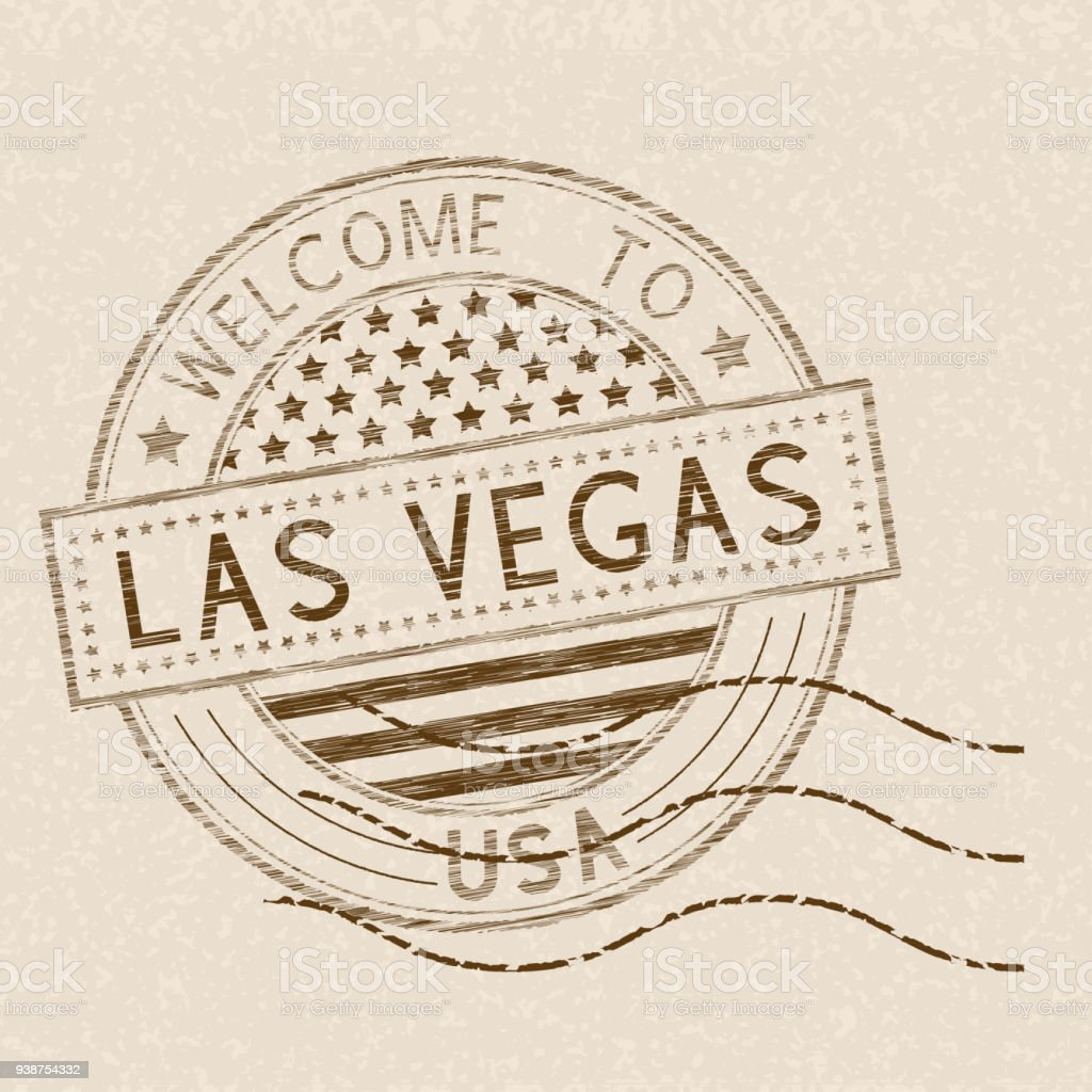 Welcome to Las Vegas, USA. Tourist brown stamp with US national flag on beige background vector art illustration
