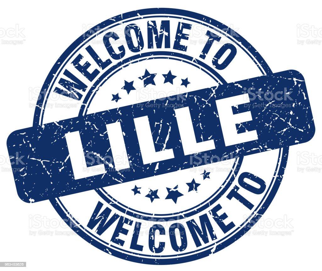 welcome to Lille blue round vintage stamp - Grafika wektorowa royalty-free (Bez ludzi)