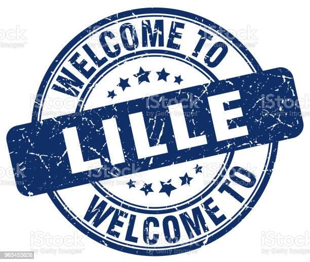 Witamy W Lille Niebieski Okrągły Znaczek Vintage - Stockowe grafiki wektorowe i więcej obrazów Bez ludzi