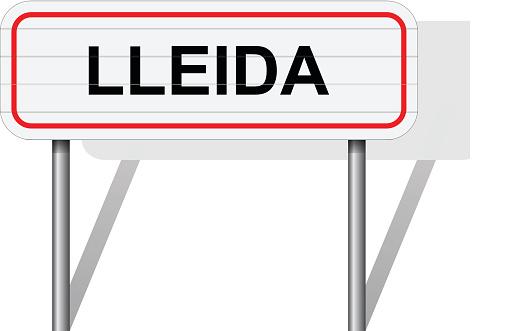 Добро Пожаловать В Ллейде Испания Дорожный Знак Вектор — стоковая векторная графика и другие изображения на тему 2015