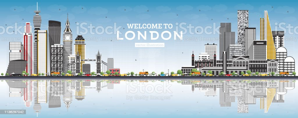 Welcome to London England Skyline with Gray Buildings, Blue Sky and...