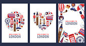 istock Welcome to London greeting souvenir cards, print or poster design template. Travel to Great Britain flat illustration. 1041186168