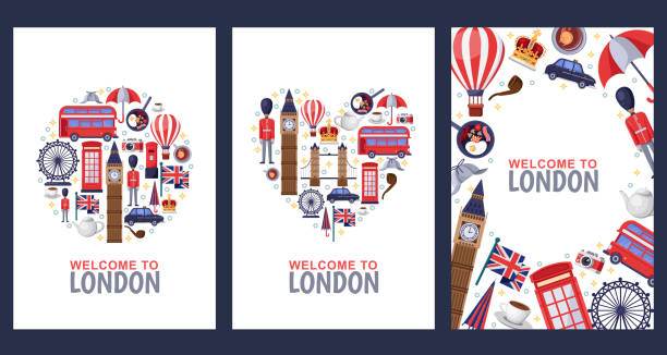 Welcome to London greeting souvenir cards, print or poster design template. Travel to Great Britain flat illustration. Welcome to London greeting souvenir cards, print or poster design template. Travel to Great Britain flat illustration. Circle, heart shapes and frame background set. london stock illustrations