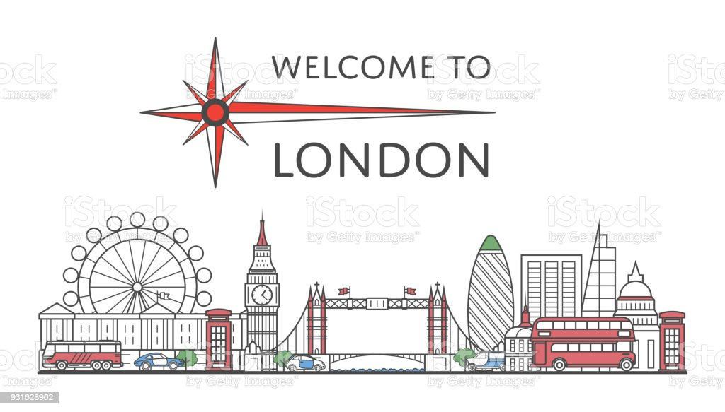 Welcome to London poster in linear style vector art illustration
