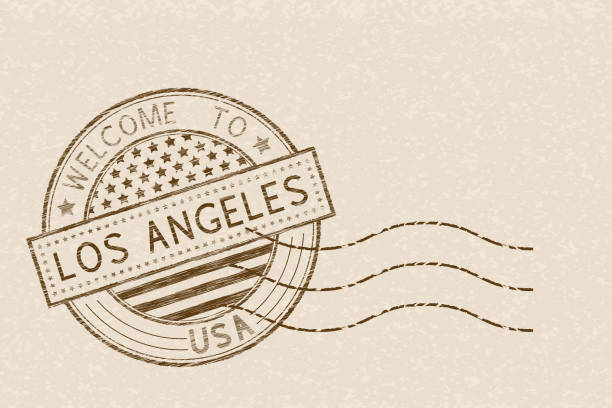 Welcome to Los Angeles, USA. Tourist brown stamp with US national flag on beige background Welcome to Los Angeles, USA. Tourist brown stamp with US national flag on beige background. Vector illustration postmark stock illustrations