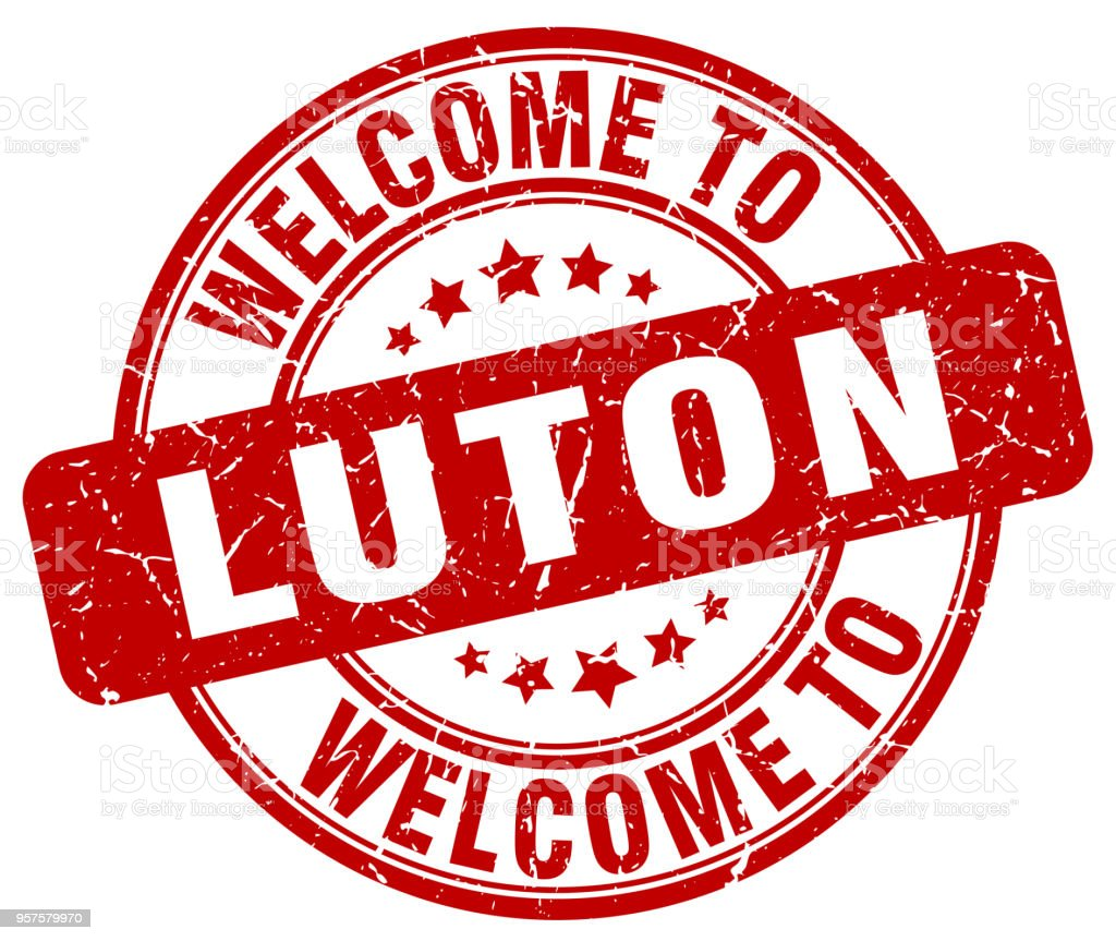 welcome to Luton red round vintage stamp vector art illustration
