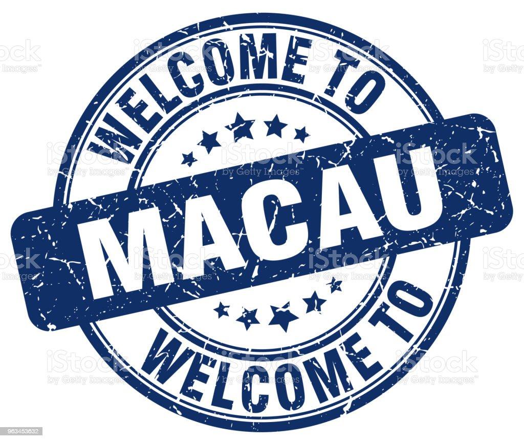 Macau mavi vintage damga yuvarlak hoş geldiniz - Royalty-free Amblem Vector Art