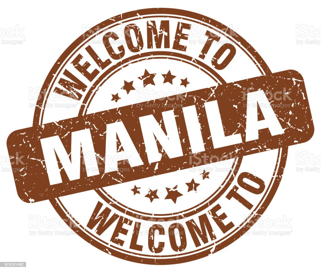 welcome to Manila brown round vintage stamp vector art illustration