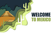 istock Welcome to Mexico poster, vector paper cut illustration 1165508332